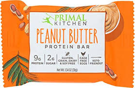 Primal Kitchen Peanut Butter Protein Bar Best high protein snack foods list by Ashley Wingate Online Personal Fitness Trainer Bossfit Customized Workout Plans
