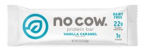 No Cow Vanilla Caramel Protein Bar Best High Protein Snack & Supplement List Bossfit Customized Online Workout Plans by Ashley Wingate Personal Fitness Trainer